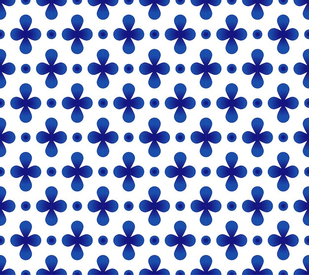 Teste padrão azul e branco da telha da flor abstrata, projeto sem emenda da porcelana Vetor Premium