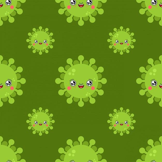 Teste padrão bonito dos desenhos animados do kawaii do vírus. fundo de infecção engraçado. Vetor Premium