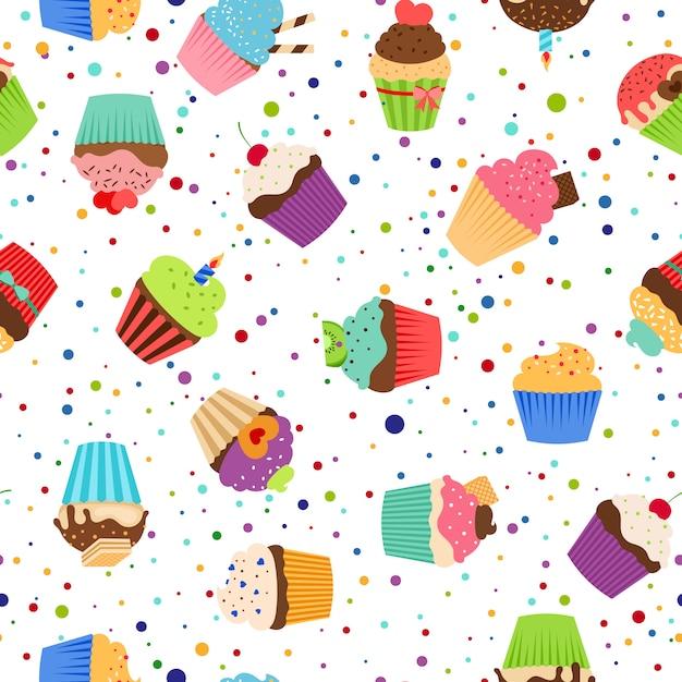 Teste padrão colorido com os queques doces no fundo branco pontilhado. Vetor Premium