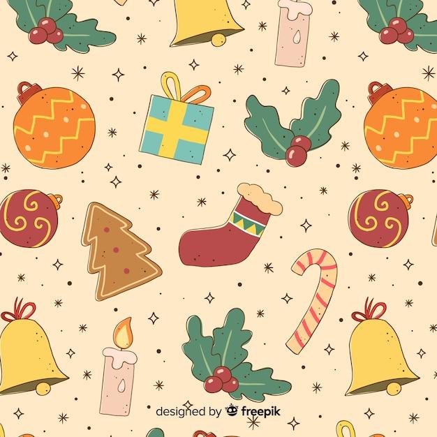 Teste padrão colorido do natal vintage Vetor grátis