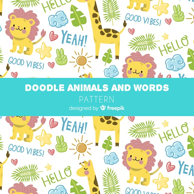 Teste padrão colorido dos animais e das palavras da selva da garatuja Vetor grátis
