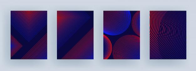 Teste padrão da listra da cor azul e vermelha no estilo diferente no roxo. Vetor Premium