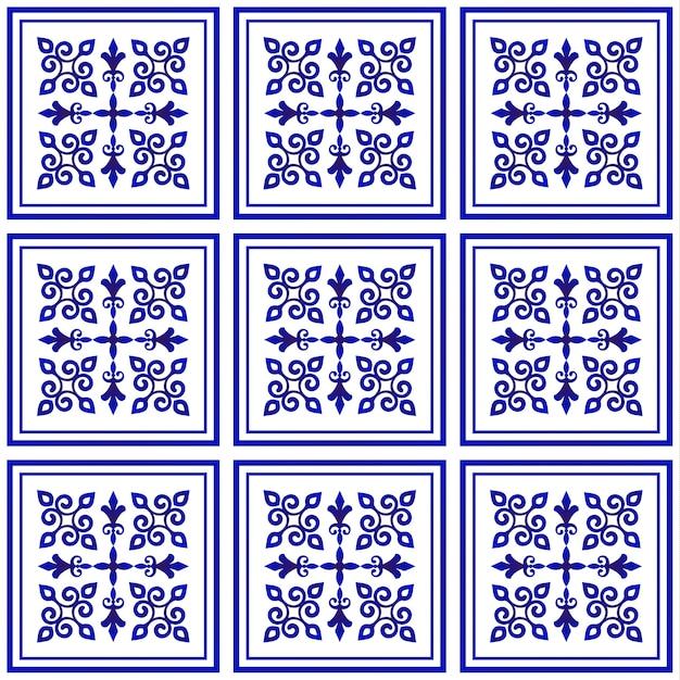 Teste padrão da telha, fundo decorativo da porcelana, elemento cerâmico floral azul e branco Vetor Premium