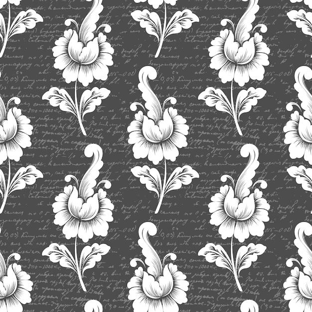 Teste padrão de flor com texto antigo. teste padrão floral à moda antiga de luxo clássico. Vetor grátis