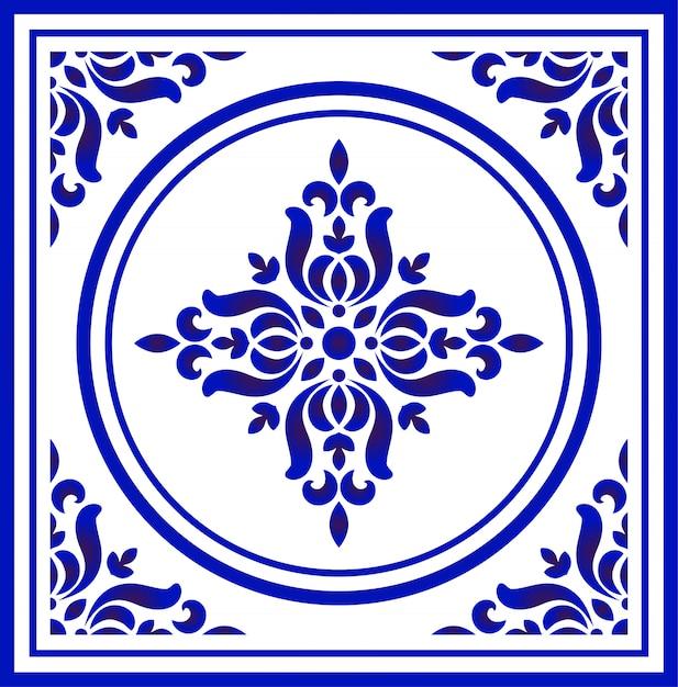 Teste padrão de flor de porcelana azul e branca Vetor Premium
