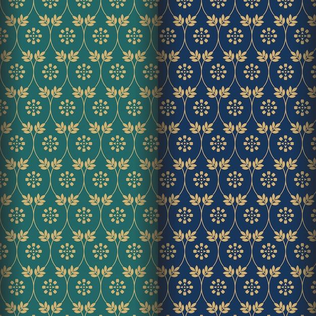 Teste padrão de flor mandala com fundo verde e marinho Vetor Premium