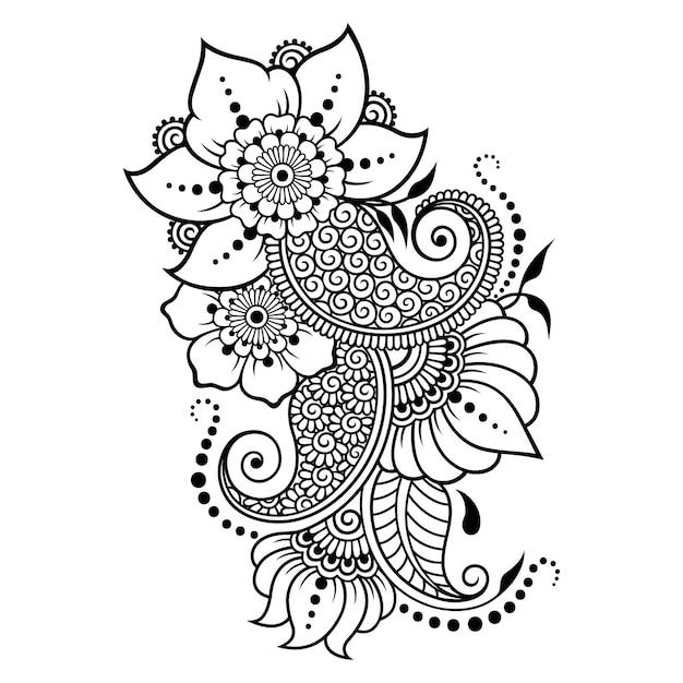 Teste padrão de flor mehndi e mandala para desenho e tatuagem de henna. Vetor Premium