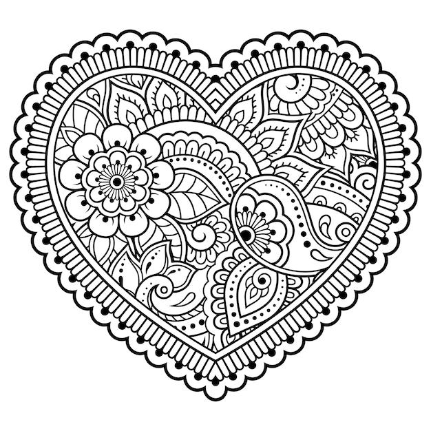 Teste Padrao De Flor Mehndi Em Forma De Coracao Para Desenho E