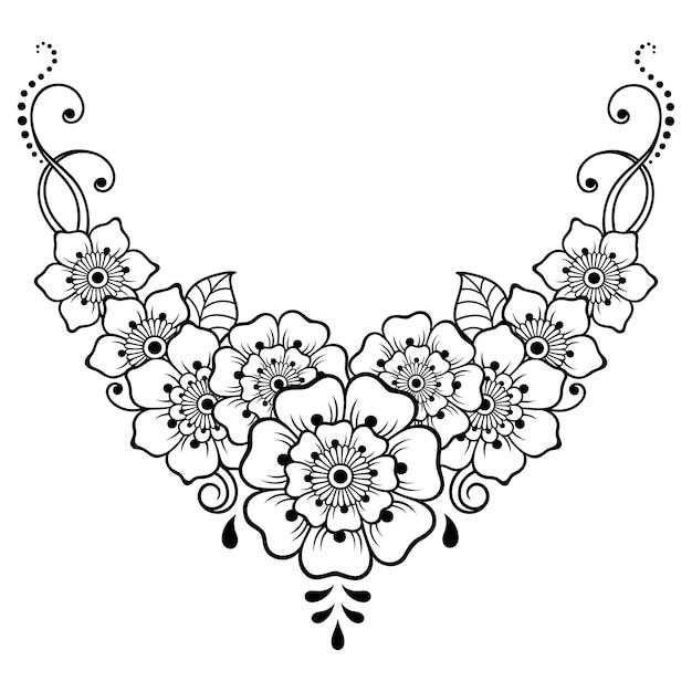 Teste Padrao De Flor Mehndi Para Desenho E Tatuagem De Henna