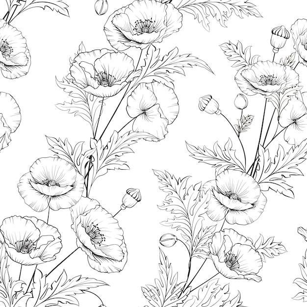 Teste padrão de flores da papoila em um fundo branco. Vetor Premium