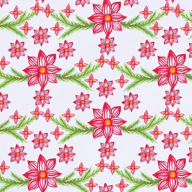 Teste padrão de natal de aguarela com flores de poinsétia e ramos de abeto Vetor Premium