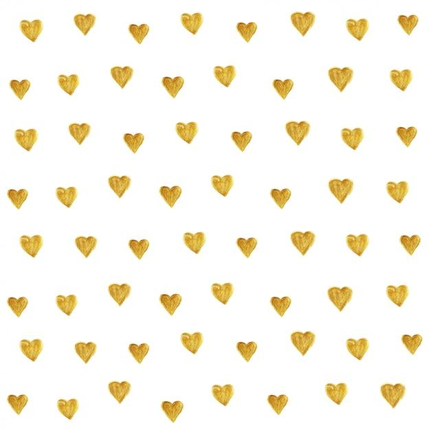 Teste padrão dourado do brilho do coração sem emenda. Vetor Premium
