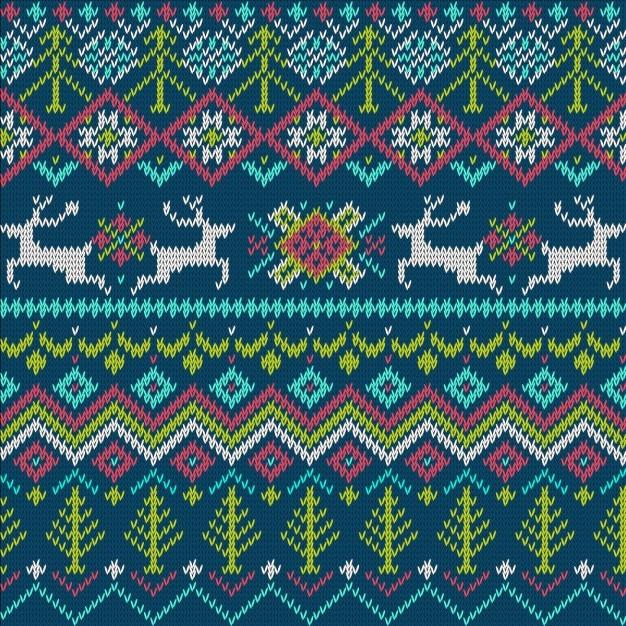Teste padrão feito malha sem emenda brilhante do feriado de inverno Vetor grátis