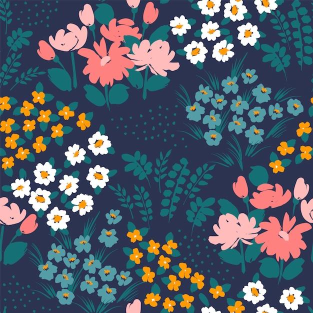 Teste padrão floral abstrato sem emenda. Vetor Premium