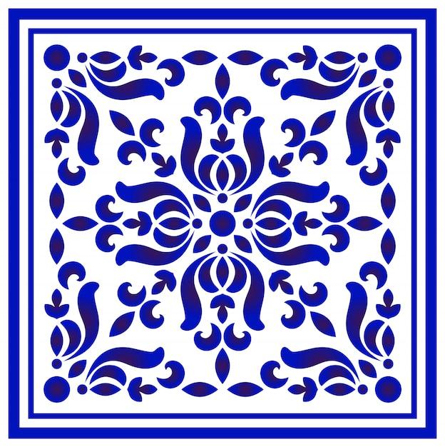 Teste padrão floral azul e branco Vetor Premium