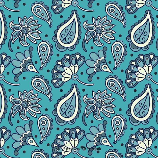 Teste padrão floral batik Vetor grátis