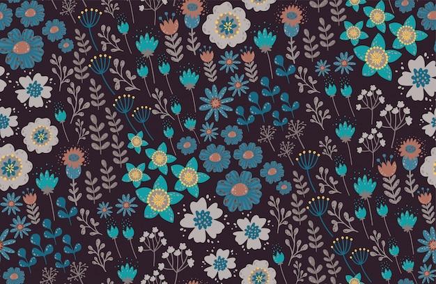 Teste padrão floral bonito com uma flor. floral fundo sem emenda para impressões de moda. textura elegante do vetor. Vetor Premium