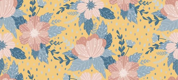 Teste padrão floral bonito com uma flor. floral fundo sem emenda para impressões de moda. Vetor Premium