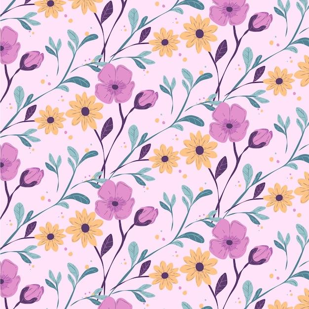 Teste padrão floral colorido Vetor grátis