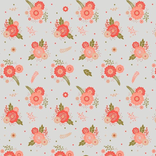 Teste padrão floral com flores cor de rosa Vetor grátis