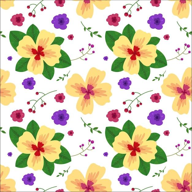 Teste padrão floral com folhas em estilo aquarela Vetor Premium