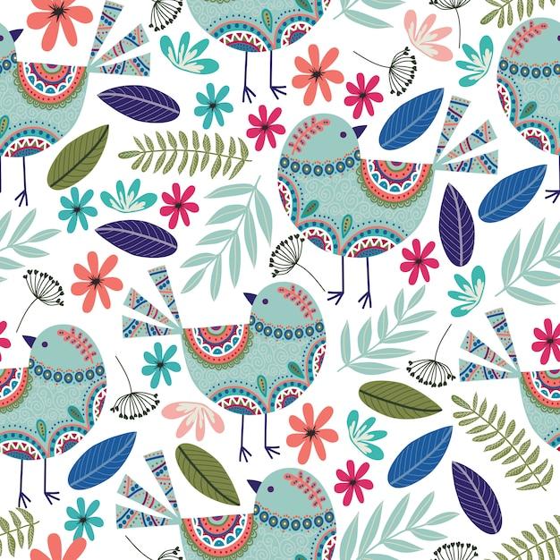 Teste padrão floral com pássaros, flores e folhas em fundo escuro Vetor Premium
