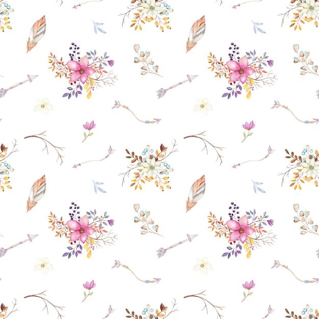 Teste padrão floral da tenda da aguarela Vetor Premium