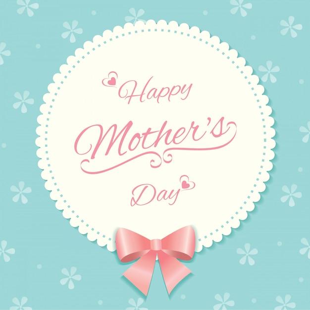 Teste padrão floral de cartão de dia das mães Vetor Premium