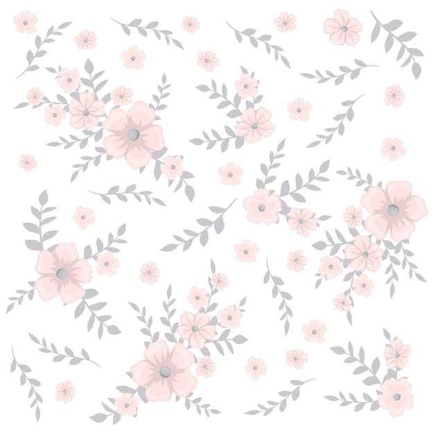 Teste padrão floral fofo na pequena flor. Vetor Premium