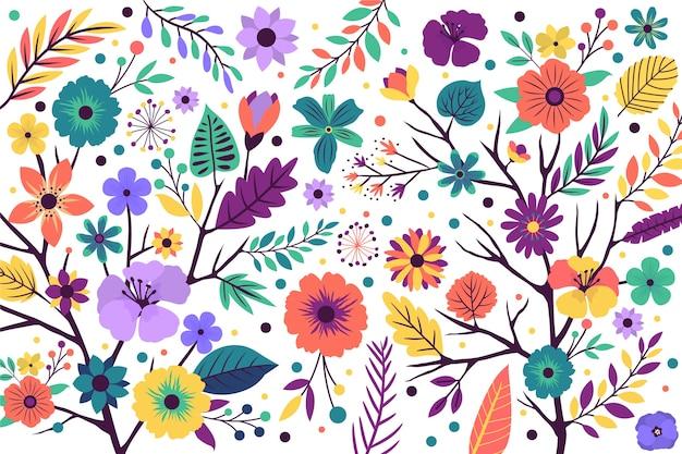 Teste padrão floral fundo com flores exóticas brilhantes Vetor Premium