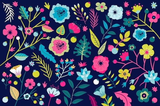 Teste padrão floral fundo com flores tropicais brilhantes Vetor grátis