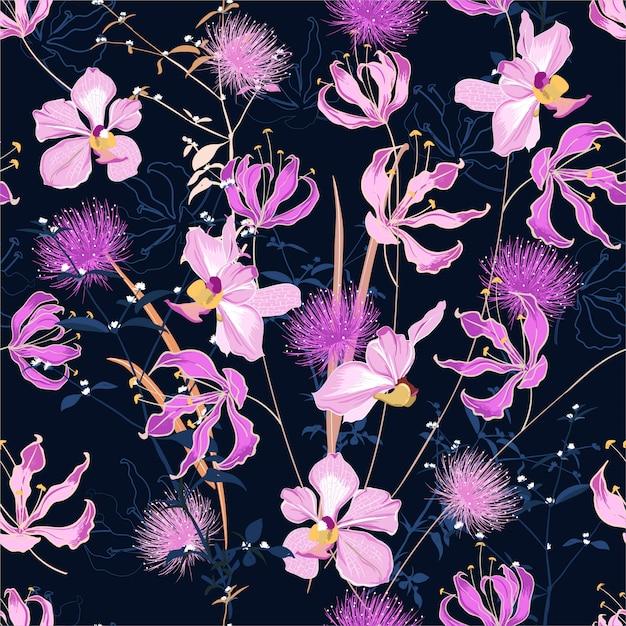 Teste padrão floral na moda em muitos tipos de flores. motivos botânicos tropicais espalhados aleatoriamente. Vetor Premium