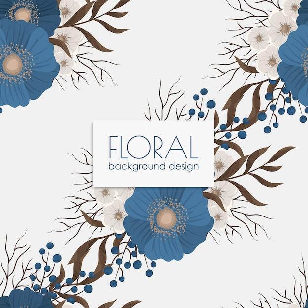 Teste padrão floral sem costura com flores azuis Vetor grátis