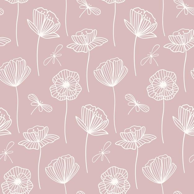 Teste padrão floral sem costura com flores de papoula. Vetor Premium