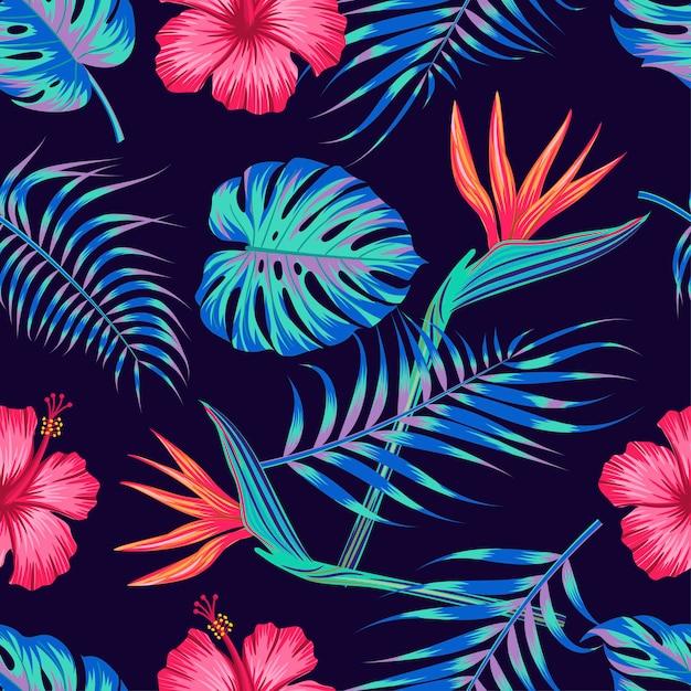 Teste padrão floral sem costura com folhas. design tropical Vetor Premium
