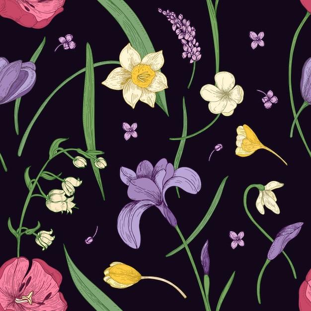Teste padrão floral sem costura com lindas flores desabrochando primavera mão desenhada no estilo antigo em fundo preto. ilustração botânica para impressão têxtil, papel de parede, papel de embrulho, pano de fundo. Vetor Premium