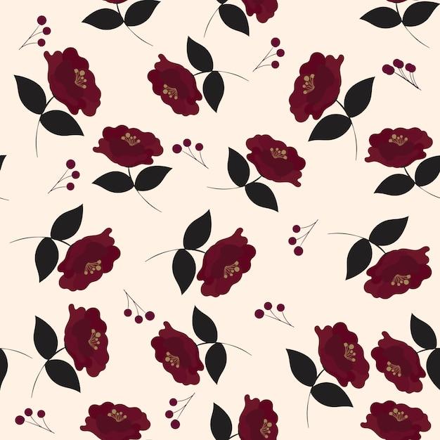 Teste padrão floral sem costura com lindas flores. Vetor Premium