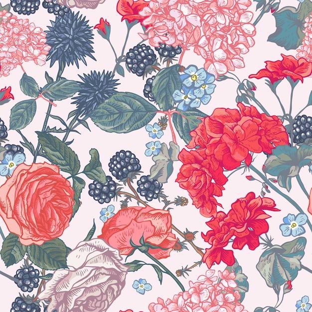 Teste padrão floral sem costura com rosas florescendo Vetor Premium