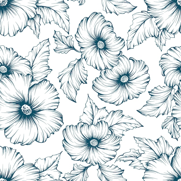 Teste padrão floral sem costura monocromático. esboço de flores de malva mão fundo desenhado. Vetor Premium