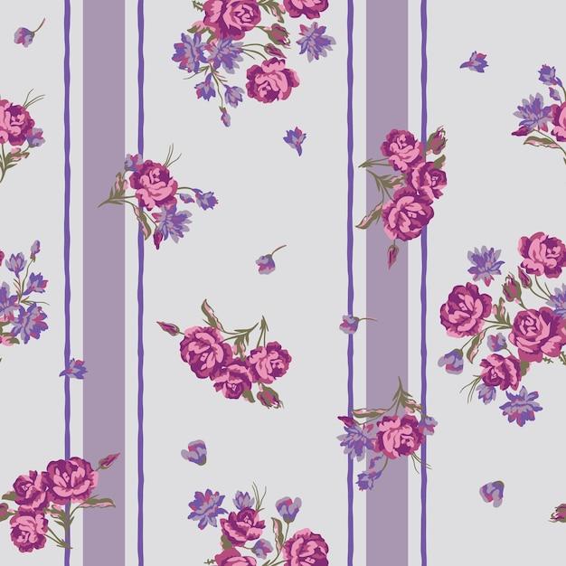 Teste padrão floral sem emenda com flores e listra. Vetor Premium