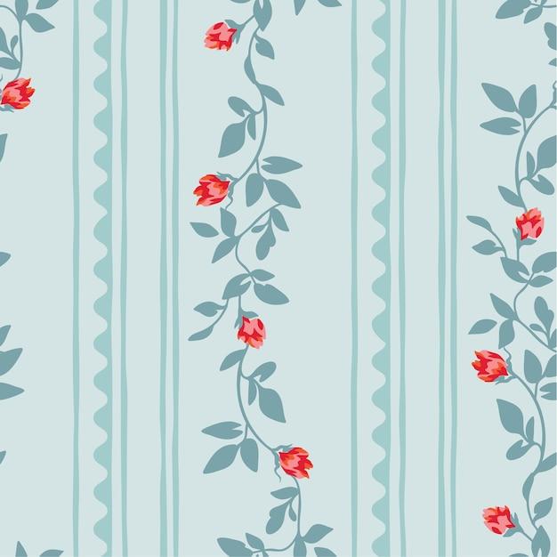 Teste padrão floral sem emenda com listra abstrata. Vetor Premium