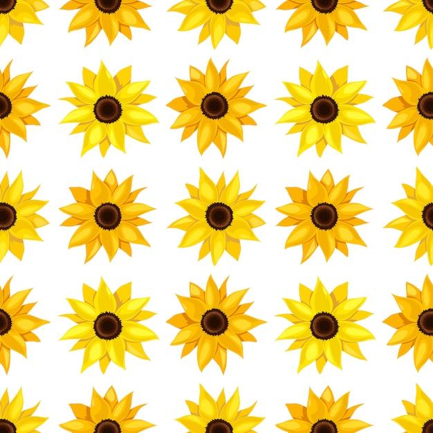 Teste padrão floral sem emenda de girassóis. Vetor Premium