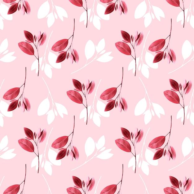 Teste padrão floral sem emenda. fundo com folhas rosa. Vetor Premium