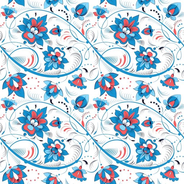 Teste padrão floral sem emenda no estilo folclórico russo Vetor Premium