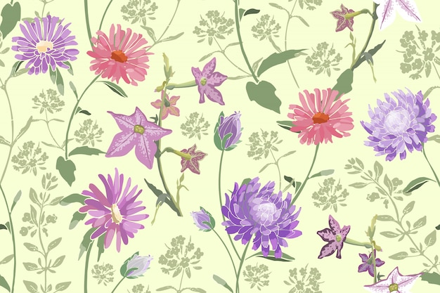 Teste padrão floral sem emenda Vetor Premium