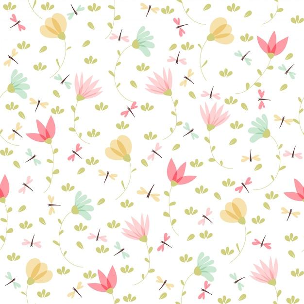 Teste padrão floral vetor no estilo doodle Vetor Premium