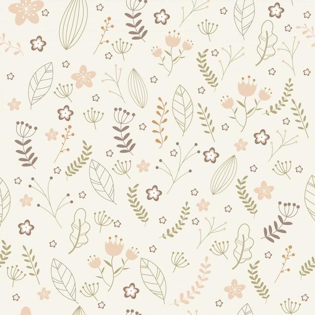 Teste padrão floral vetor no estilo doodle. Vetor Premium