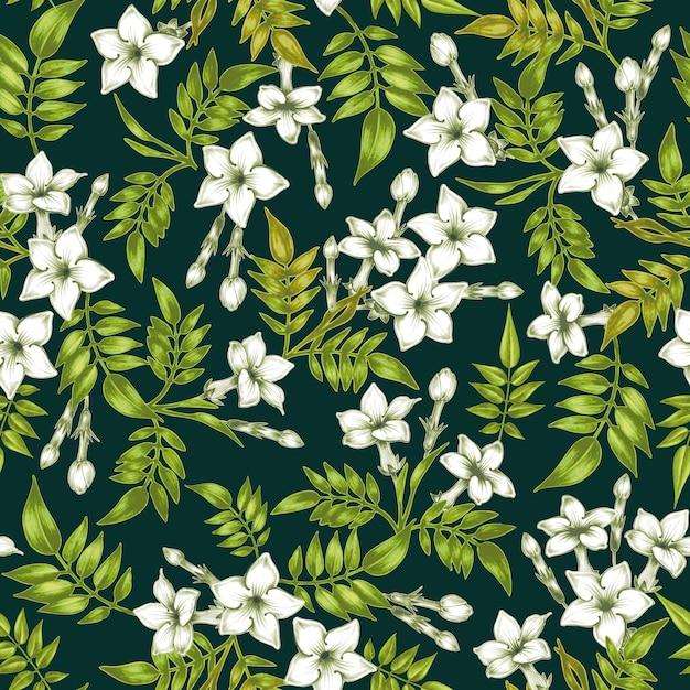 Teste padrão floral vetor sem costura com flores de jasmim. Vetor Premium