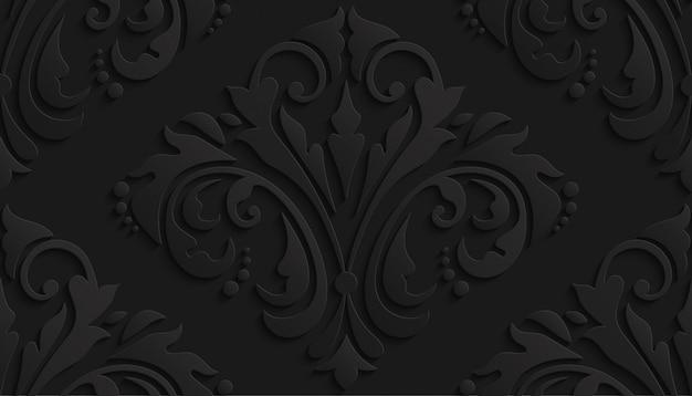Teste padrão preto do damasco 3d luxuoso para o papel de parede Vetor Premium