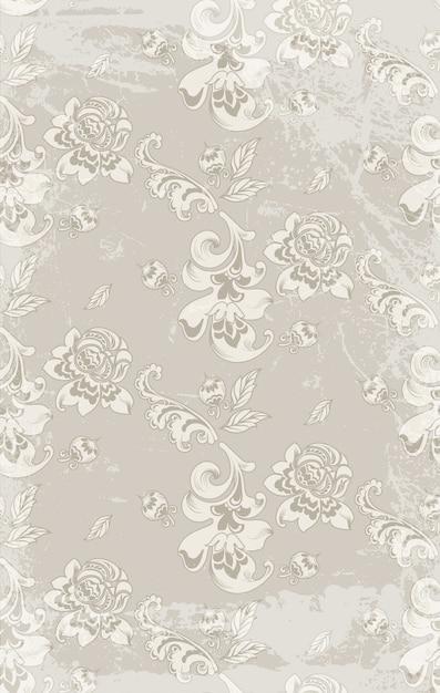 Teste padrão retro do damasco das rosas do vintage Vetor Premium